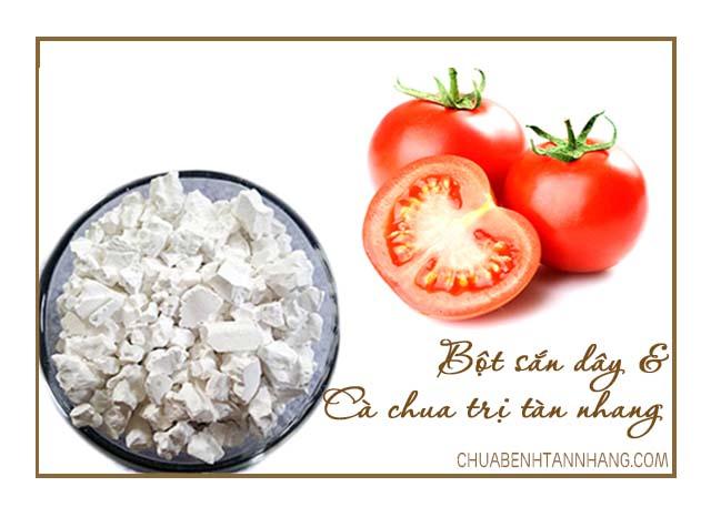 trị tàn nhang bằng bột sắn dây và cà chua