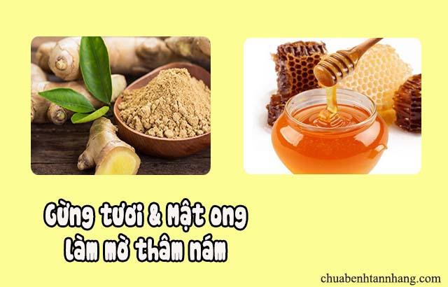 gừng tươi và mật ong trị nám da