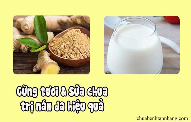 gừng tươi và sữa chua trị nám da