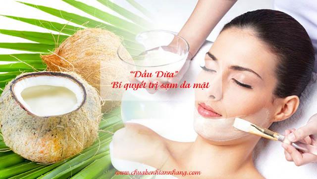 Trị sạm da mặt bằng dầu dừa