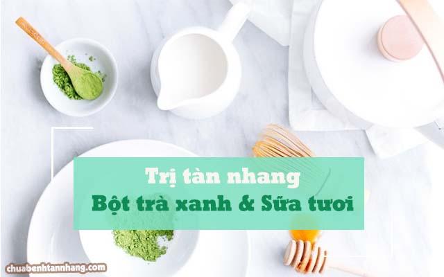 làm mờ tàn nhang bằng bột trà xanh và sữa tươi
