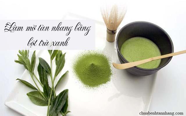 Làm mờ tàn nhang bằng bột trà xanh