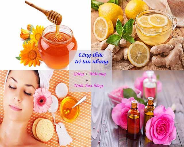 Kem trị tàn nhang từ mật ong, gừng và nước hoa hồng