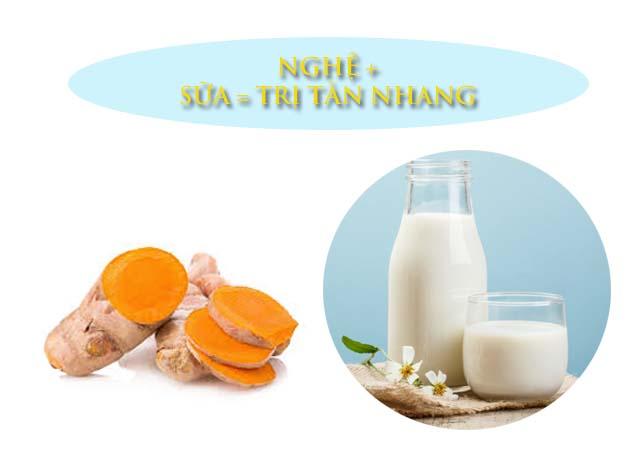 trị tàn nhang bằng nghệ và sữa tươi