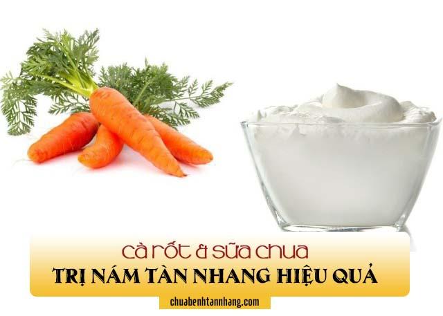 trị nám tàn nhang với cà rốt và sữa chua