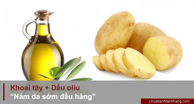 mạt nạ trị nám từ khoai tây và dầu oliu