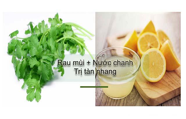 chữa tàn nhang bằng rau mùi và chanh