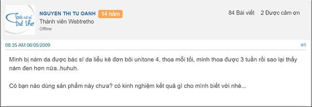 review kem trị nám unitone 4 reveal webtretho