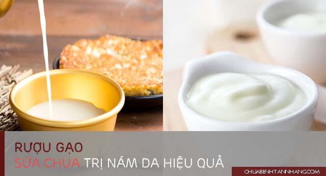 trị nám da bằng rượu gạo và sữa chua