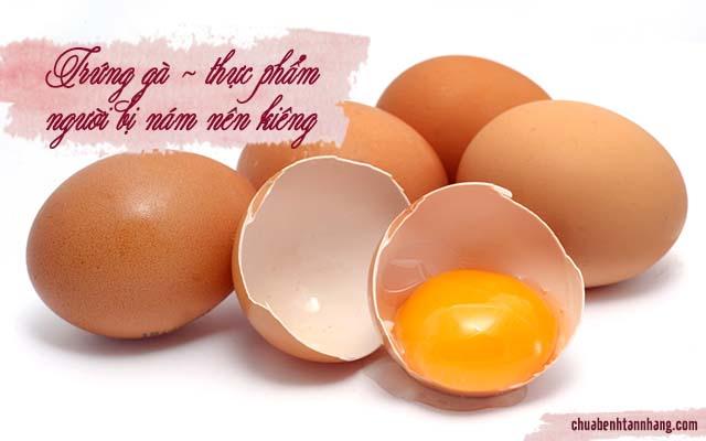 bị nám da kiêng trứng gà