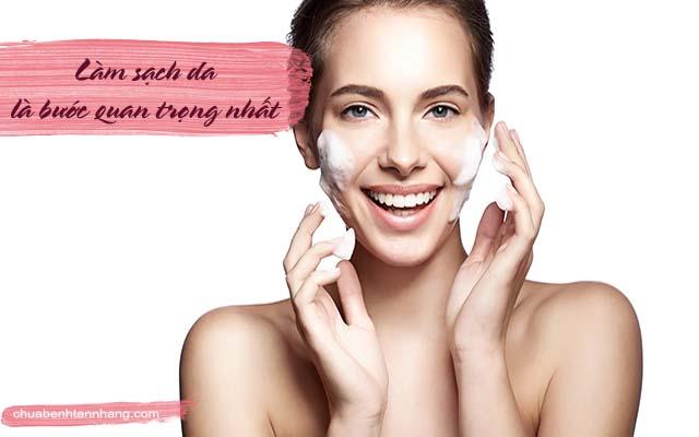 chăm sóc da dầu bị nám bằng cách làm sạch da