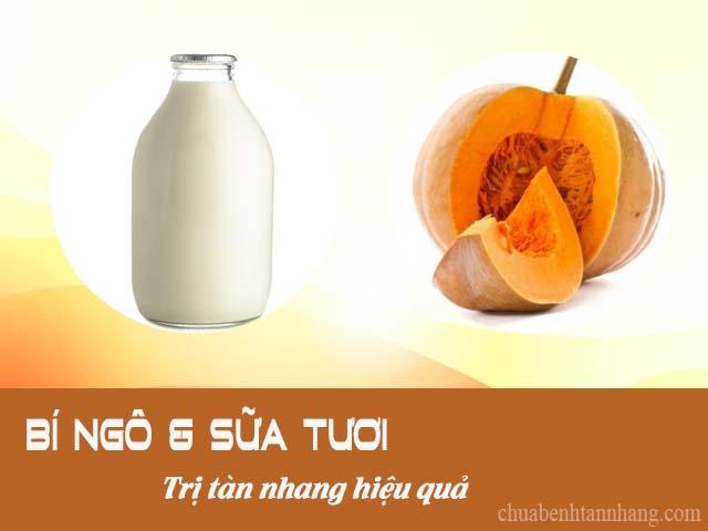 trị tàn nhang bằng bí ngô và sữa tươi