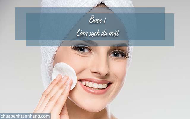 trị nám cho da hỗn hợp thiên dầu bằng cách làm sạch da mặt