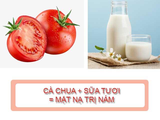 trị nám da bằng cà chua kết hợp với sữa tươi