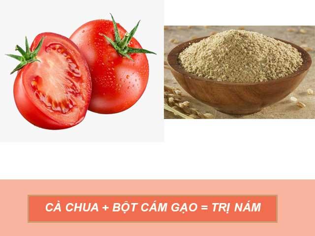 mặt nạ cà chua và bột cám gạo trị nám