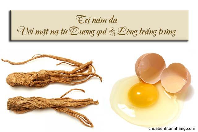mặt nạ thuốc bắc trị nám da với đương qui và lòng trắng trứng