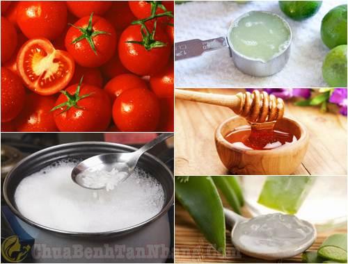 Mặt nạ cà chua, nha đam, nước cơm, chanh, mật ong