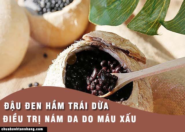 điều trị nám da do máu xấu bằng món đậu đen hầm trái dừa