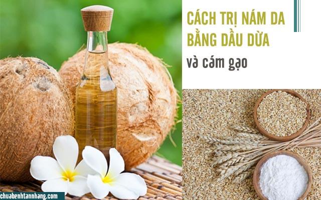 dầu dừa và cám gạo