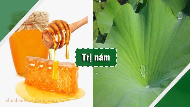 mặt nạ bột lá sen và mật ong trị nám