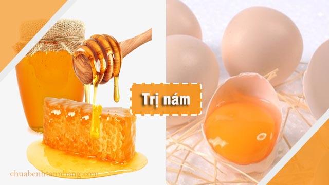 trị nám da bằng mặt nạ mật ong kết hợp với lòng trắng trứng gà