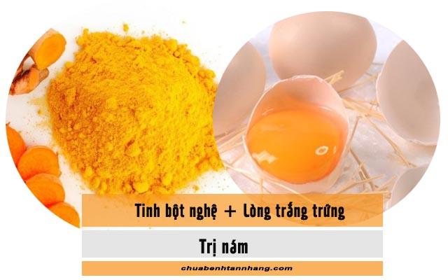 tinh bột nghệ và lòng trắng trứng gà chữa nám da