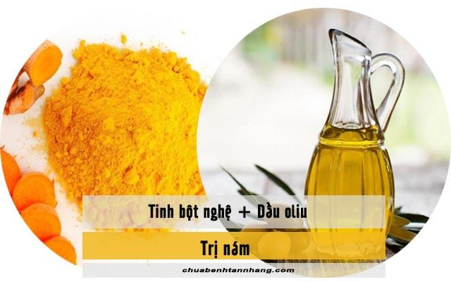 mặt nạ nghệ và dầu oliu trị nám da