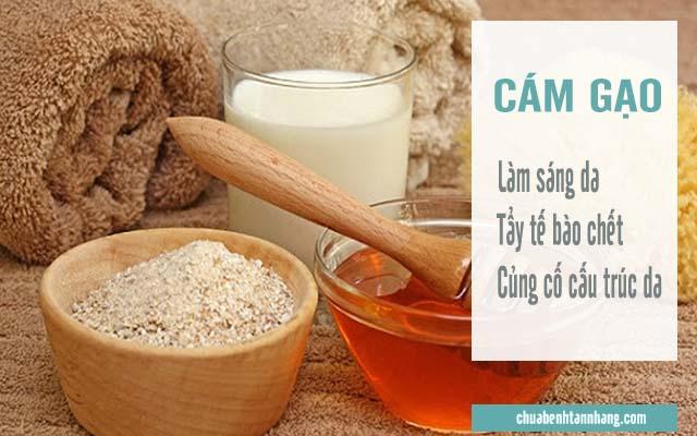 cách trị sạm da sau sinh bằng cám gạo